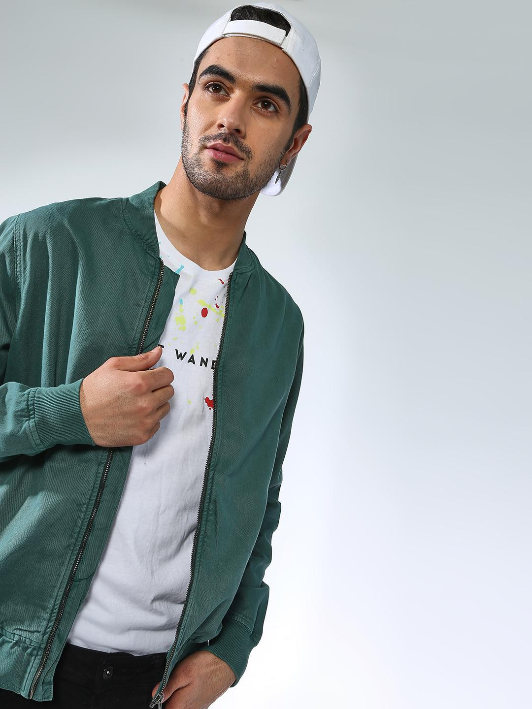 Blue Saint Green Basic Baseball Collar Jacket 1