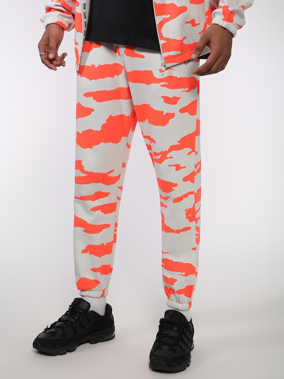 ABG White All Over Abstract Print Slim Fit Joggers 1