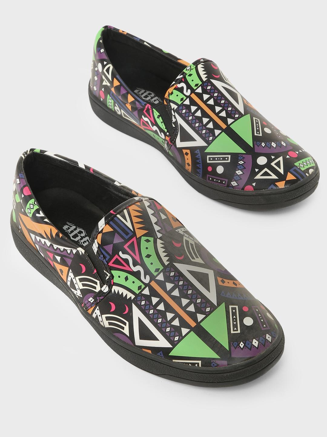 ABG Black Abstract Print Slip-On Shoes 1