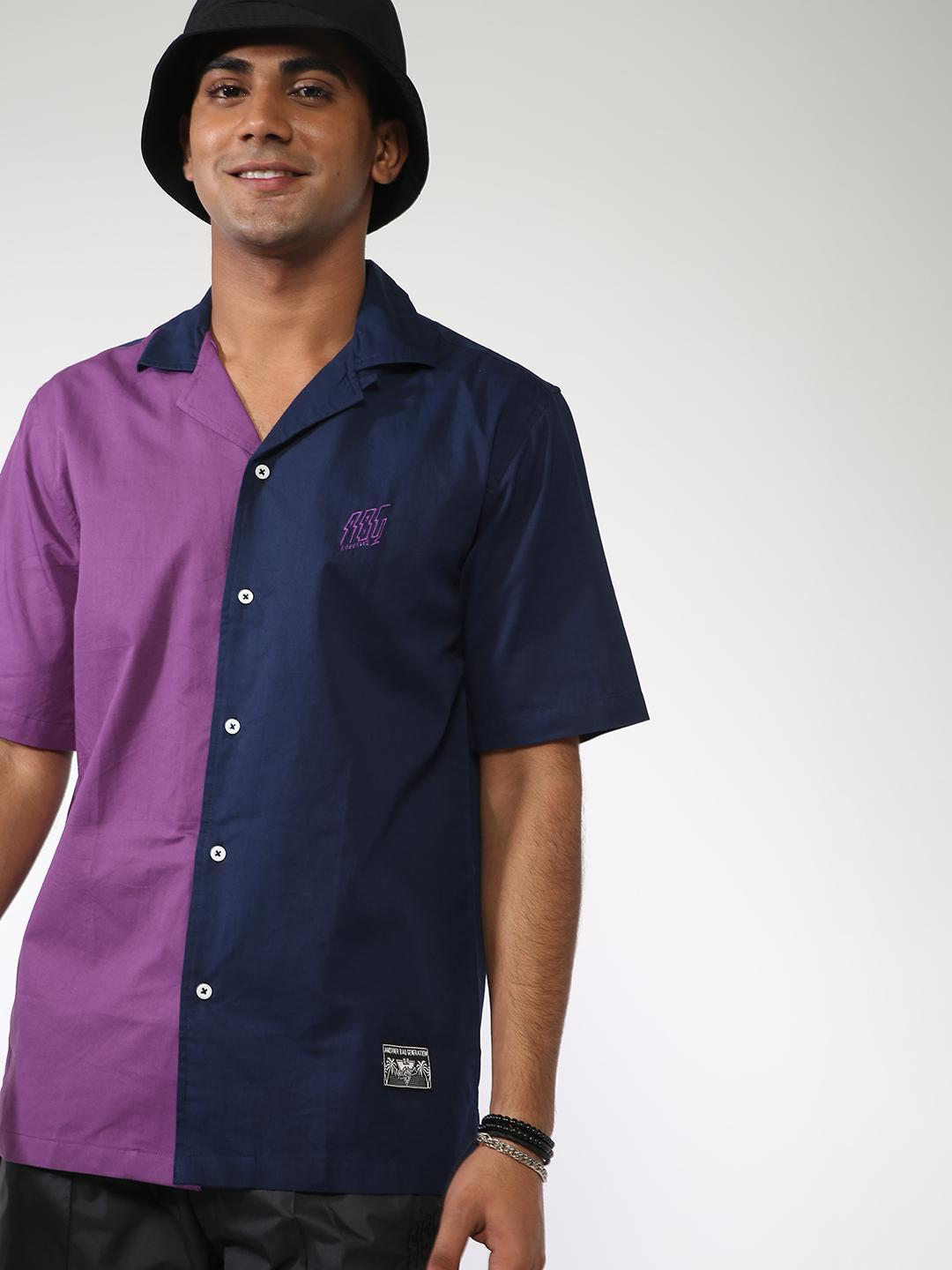 ABG Navy Colour Block Casual Shirt 1