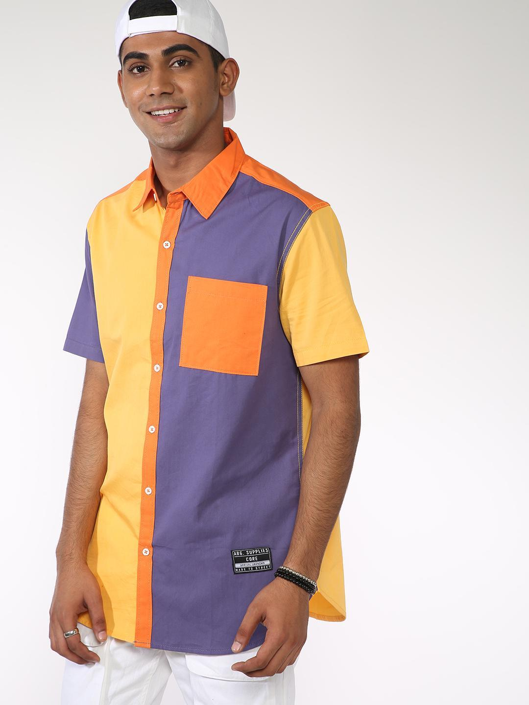 ABG Yellow Contrast Patch Collar Casual Shirt 1