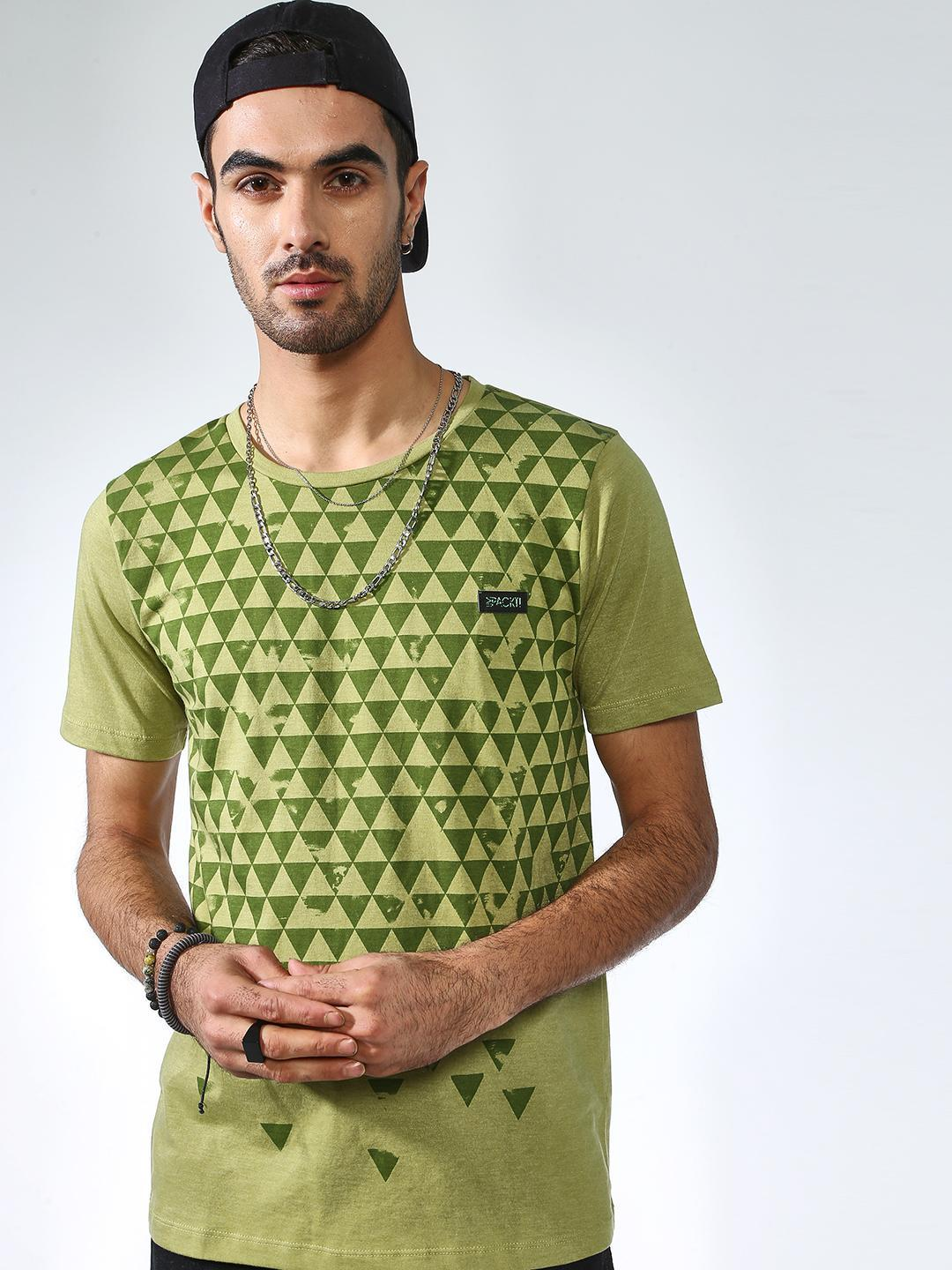 IMPACKT Olive Abstract Print Crew Neck T-shirt 1