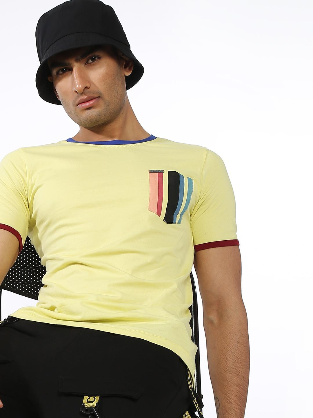 IMPACKT Yellow Plain Patch Pocket T-shirts 1
