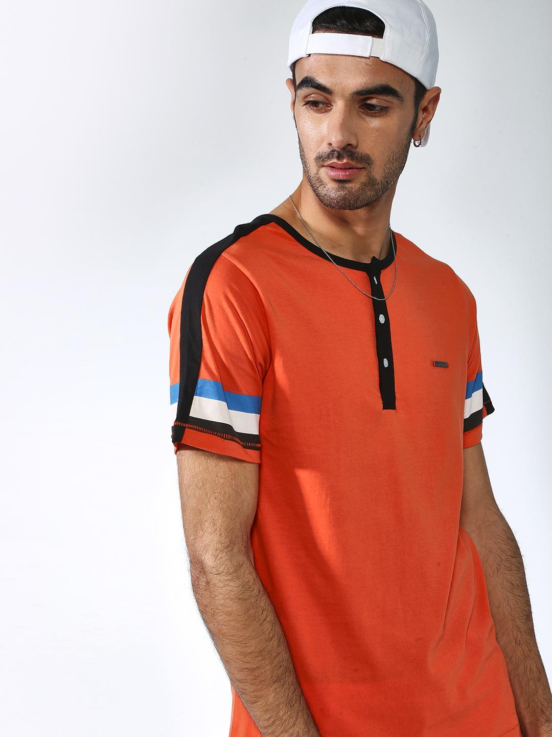 IMPACKT Orange Colour Block Round Neck T-Shirt 1
