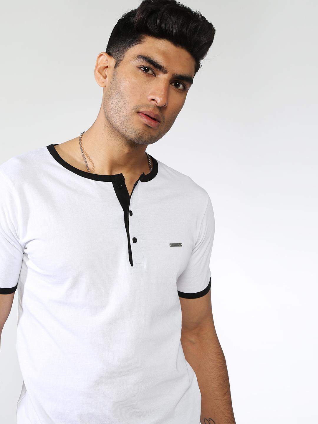 IMPACKT White Contrast Piping Round Neck T-Shirt 1