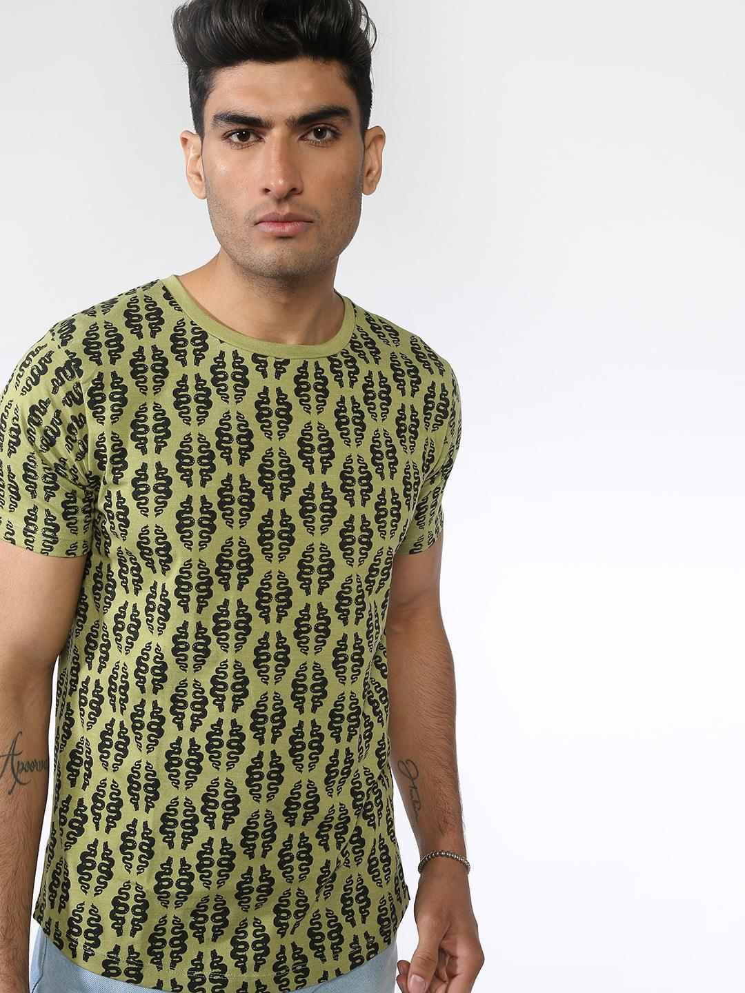 IMPACKT Olive All Over Printed T-shirts 1