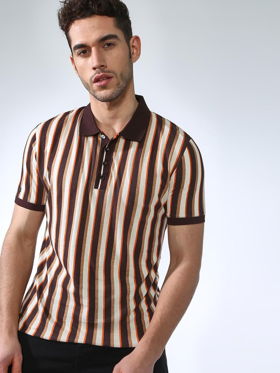 SMUGGLERZ Inc. Brown Multi Vertical Stripes Polo Shirt 1