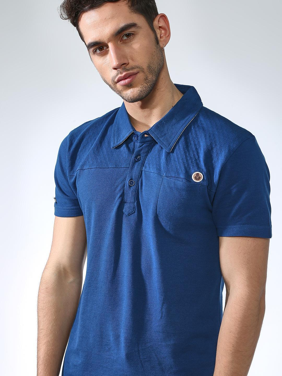 SMUGGLERZ Inc. Blue Solid Muscle Fit Polo Shirt 1