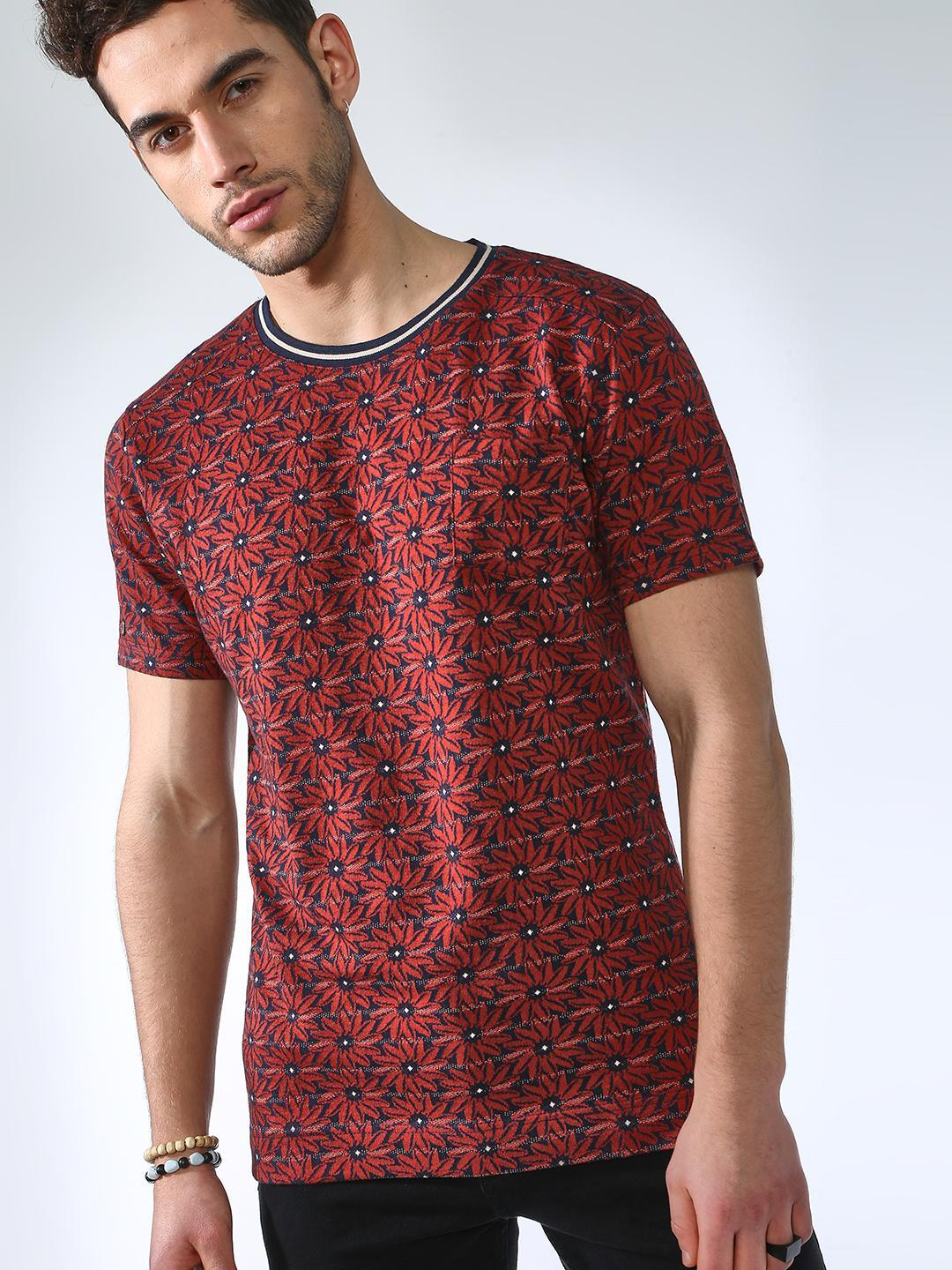 SMUGGLERZ Inc. Red Floral Print Crew Neck T-shirt 1