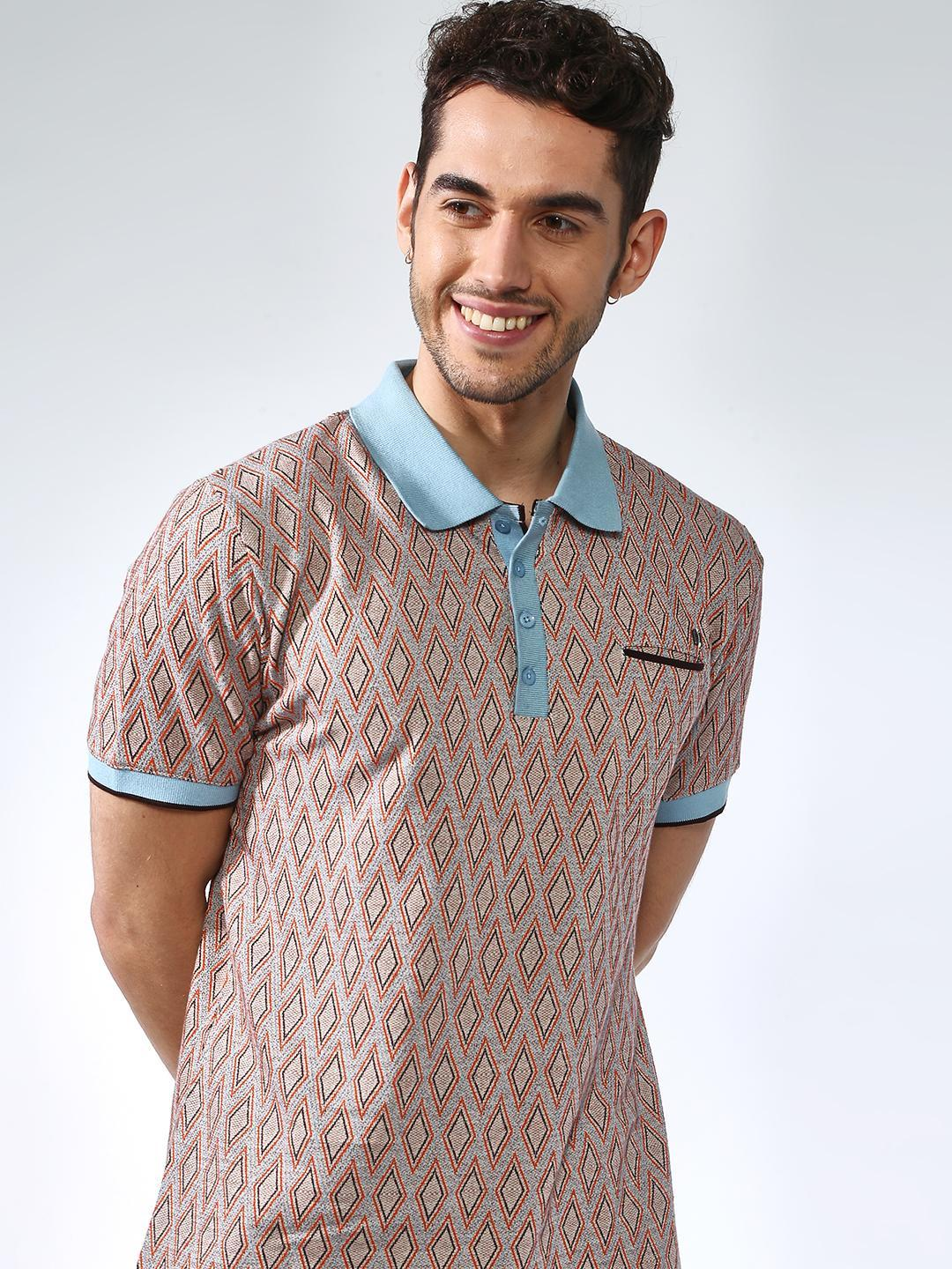 SMUGGLERZ Inc. Beige All Over Print Muscle FitPolo Shirt 1