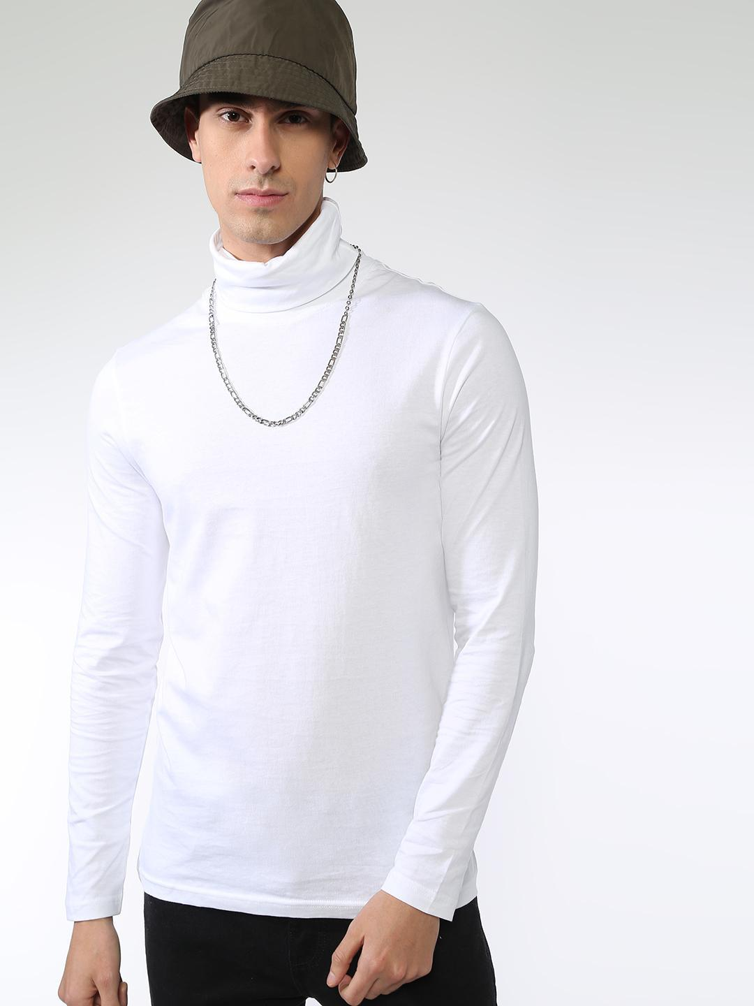 KOOVS White Plain Turtle Neck T-shirts 1