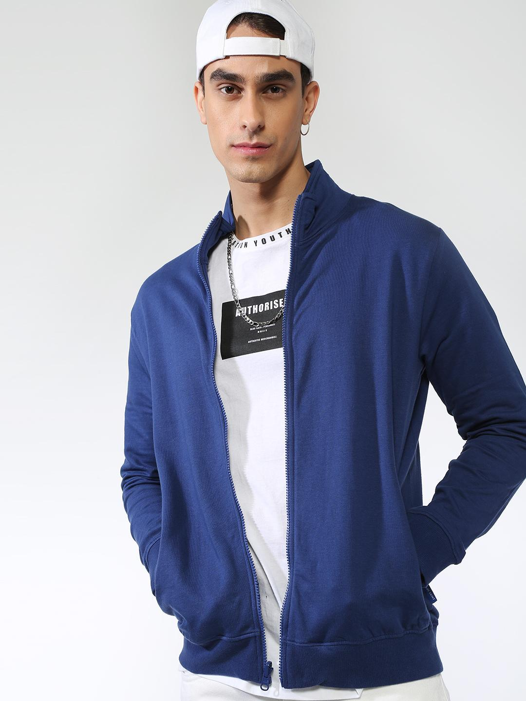 Blue Saint Navy Solid Long Sleeves Sweatshirt 1