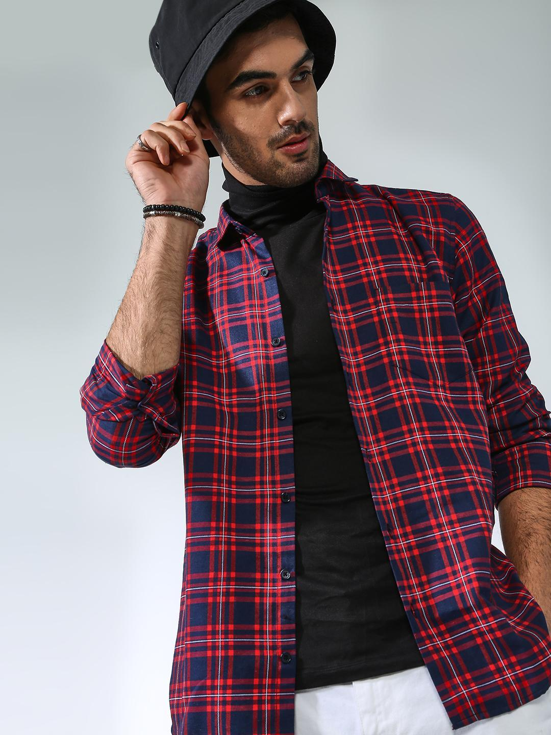 AMON Multi Plaid Check Long Sleeve Shirt 1