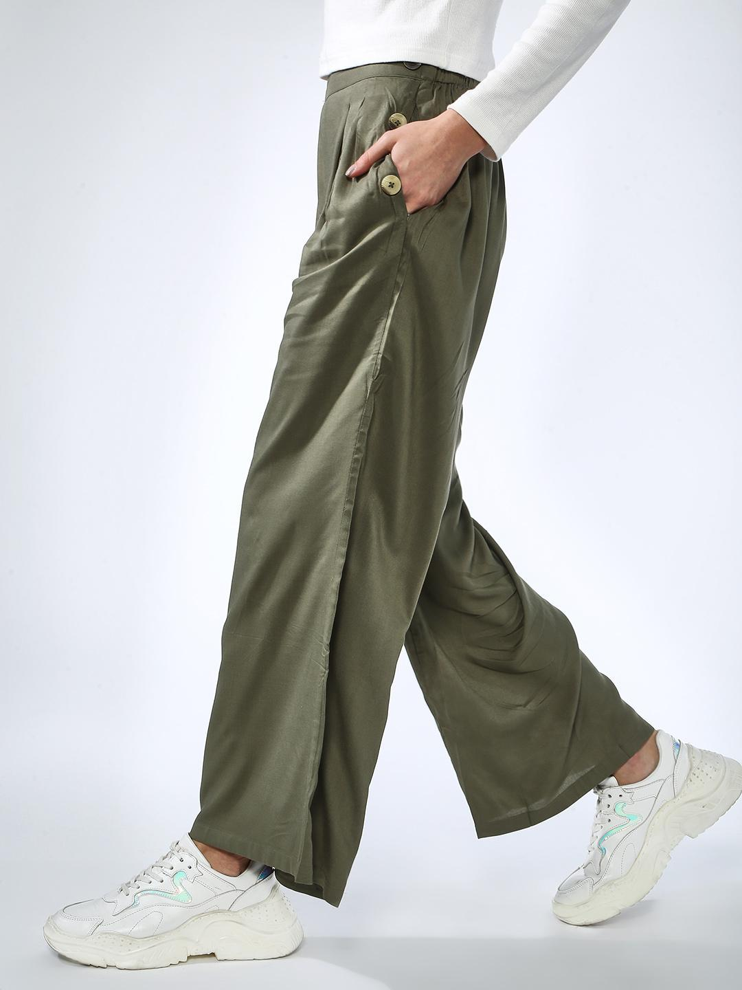Oxolloxo Olive Button Pocket Regular Fit Pant 1