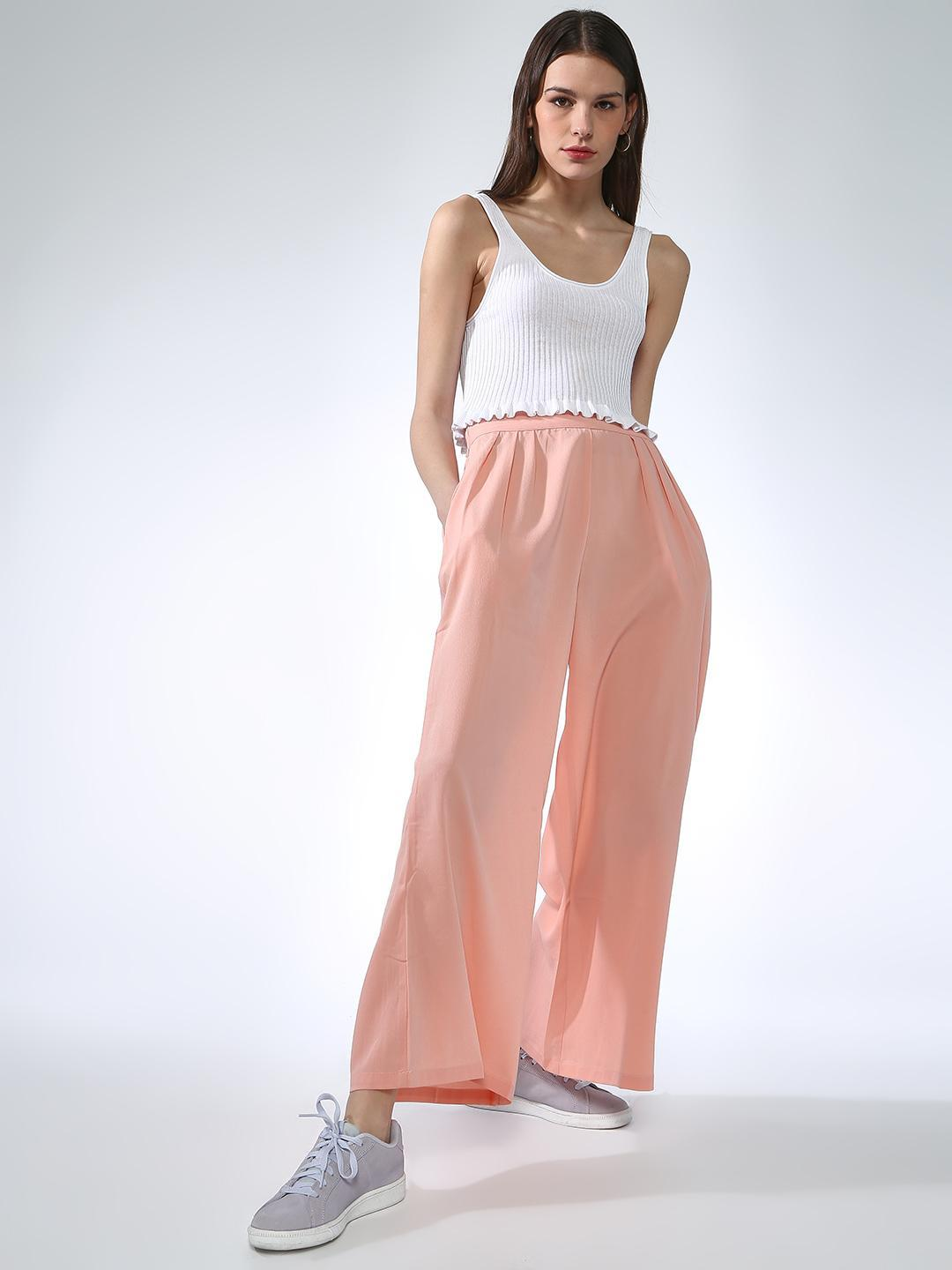 Oxolloxo Pink Regular Fit Flare Pant 1
