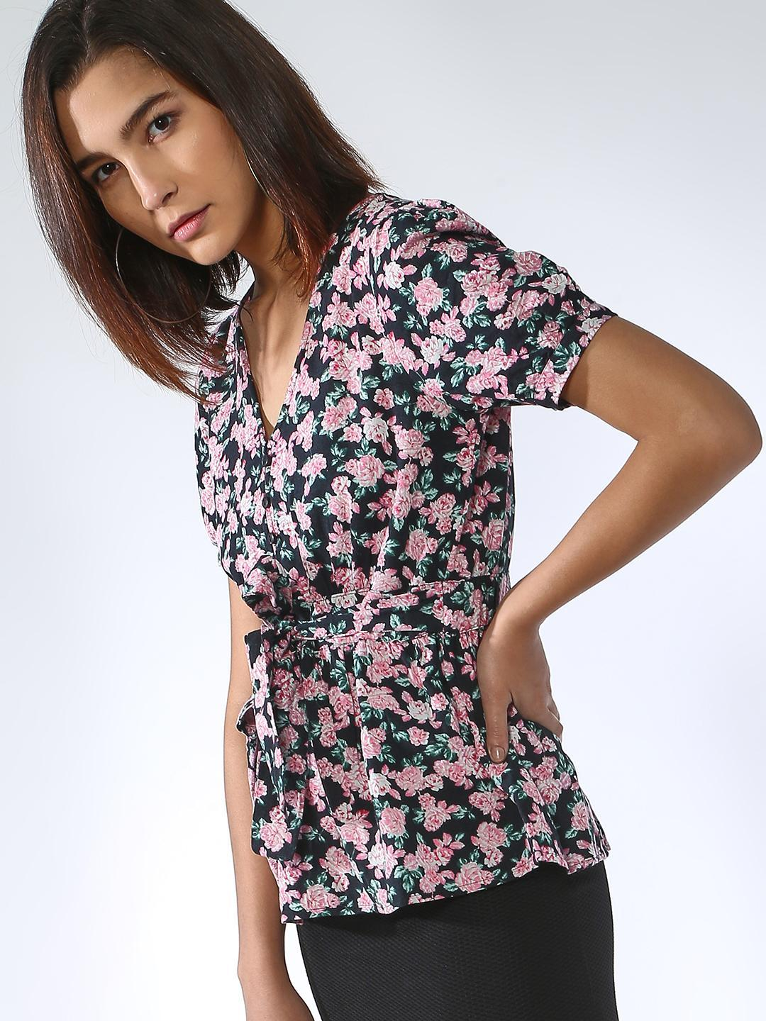 Oxolloxo Multi Floral Print Tie-Knot Top 1