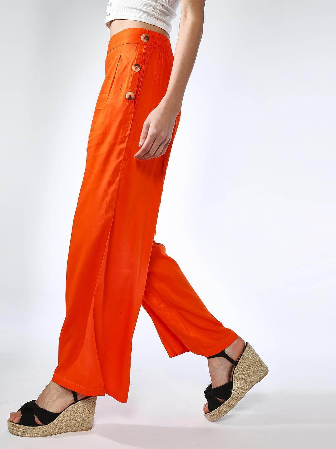 Oxolloxo Orange Pleated Button Detail Trousers 1