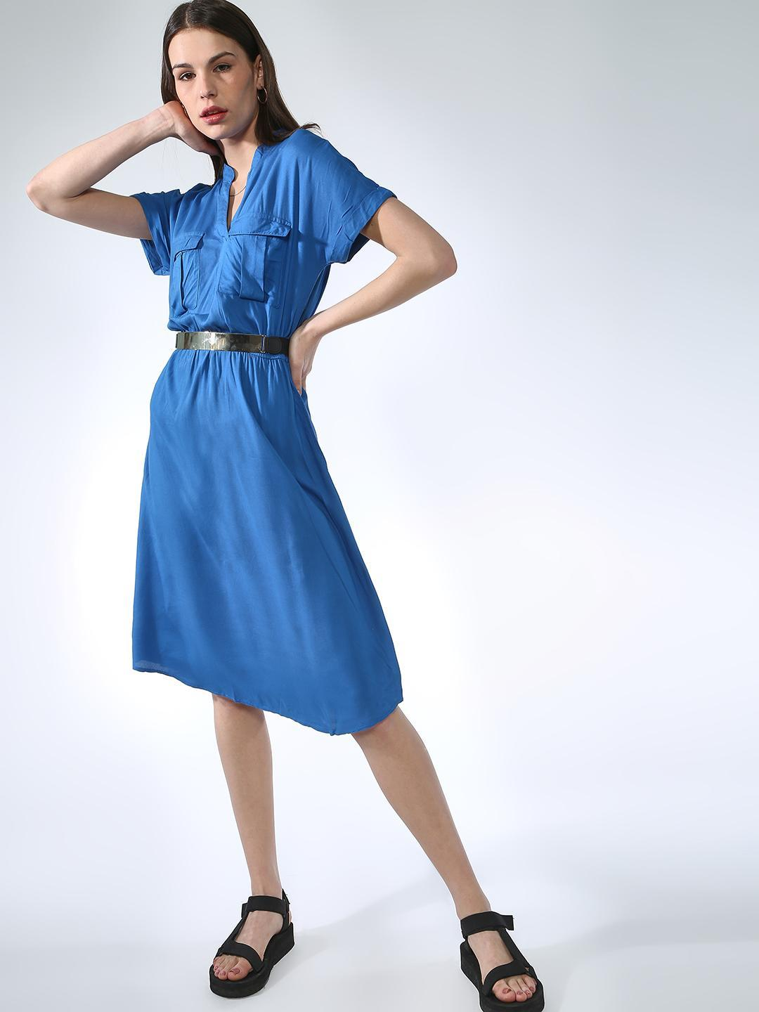 Oxolloxo Blue Basic Casual Midi Dress 1