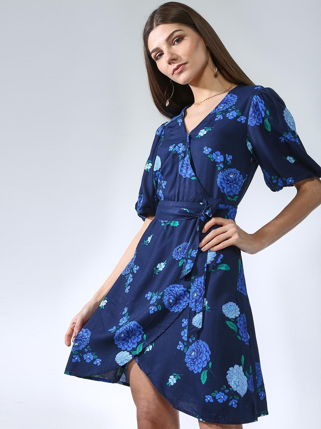 Oxolloxo Navy Flower Printed Dress 1
