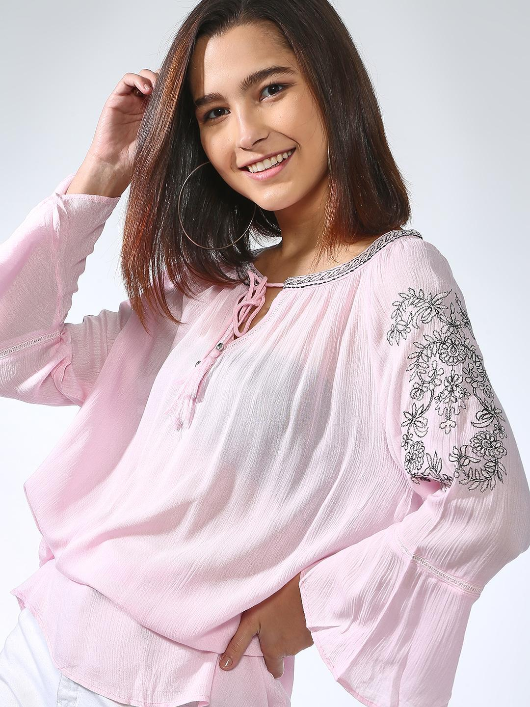 Oxolloxo Pink Casual Embroidered Top 1