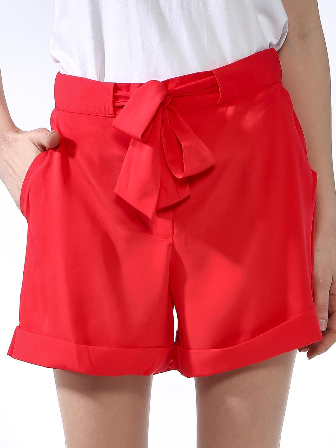 Oxolloxo Red Tie-Up Casual Shorts 1