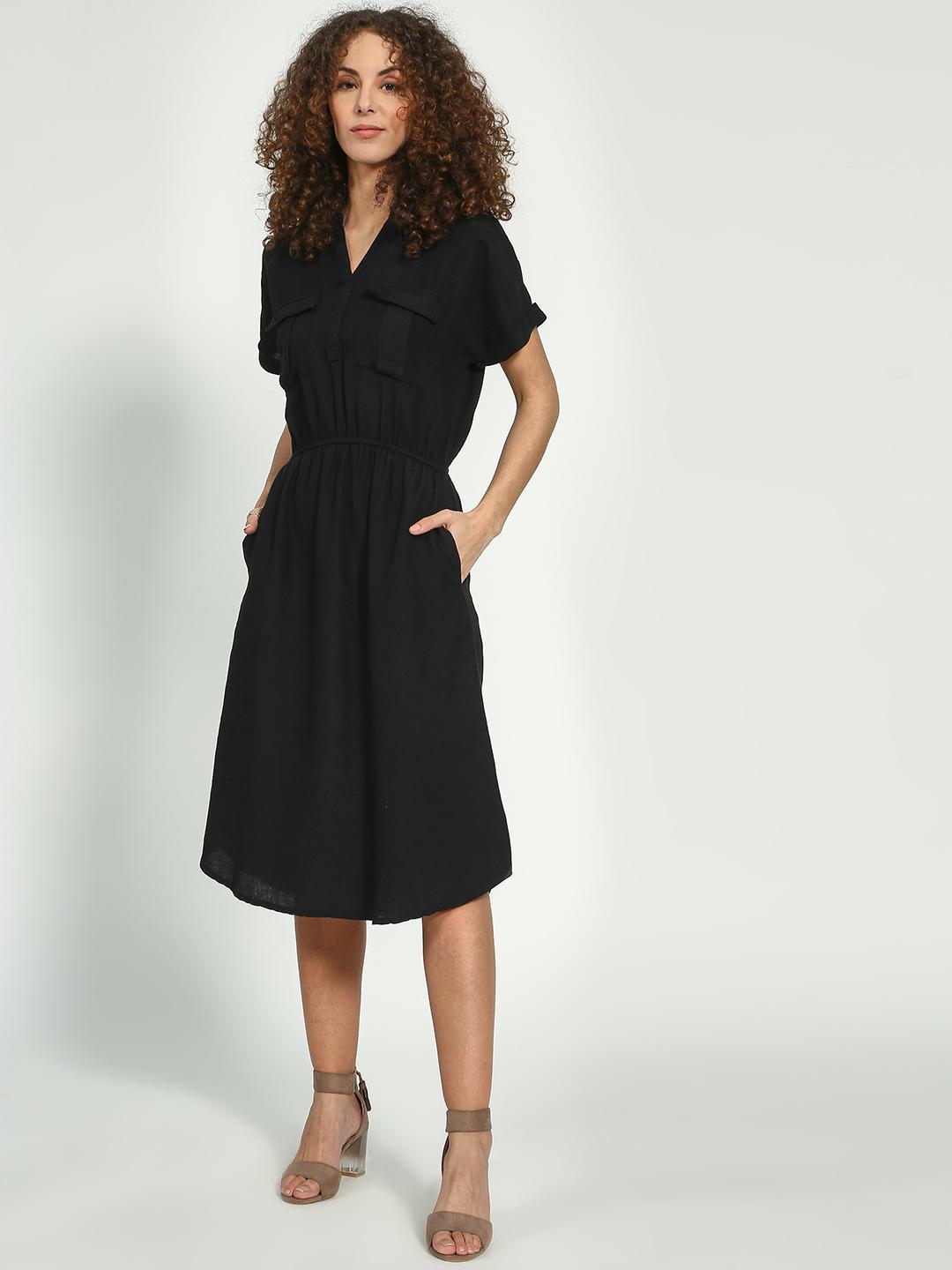 Oxolloxo Black Basic Regular Fit Midi Dress 1