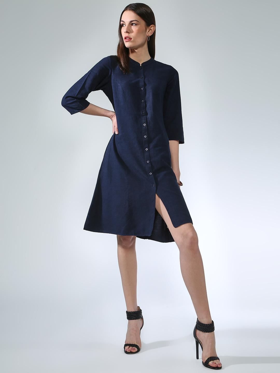 Oxolloxo Navy Button Down Tunic Top 1