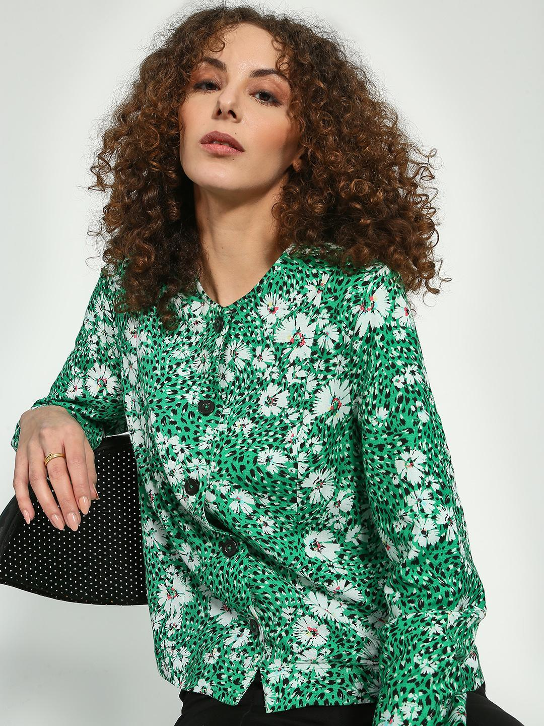 Oxolloxo Green Floral Print Button-Down Blouse 1