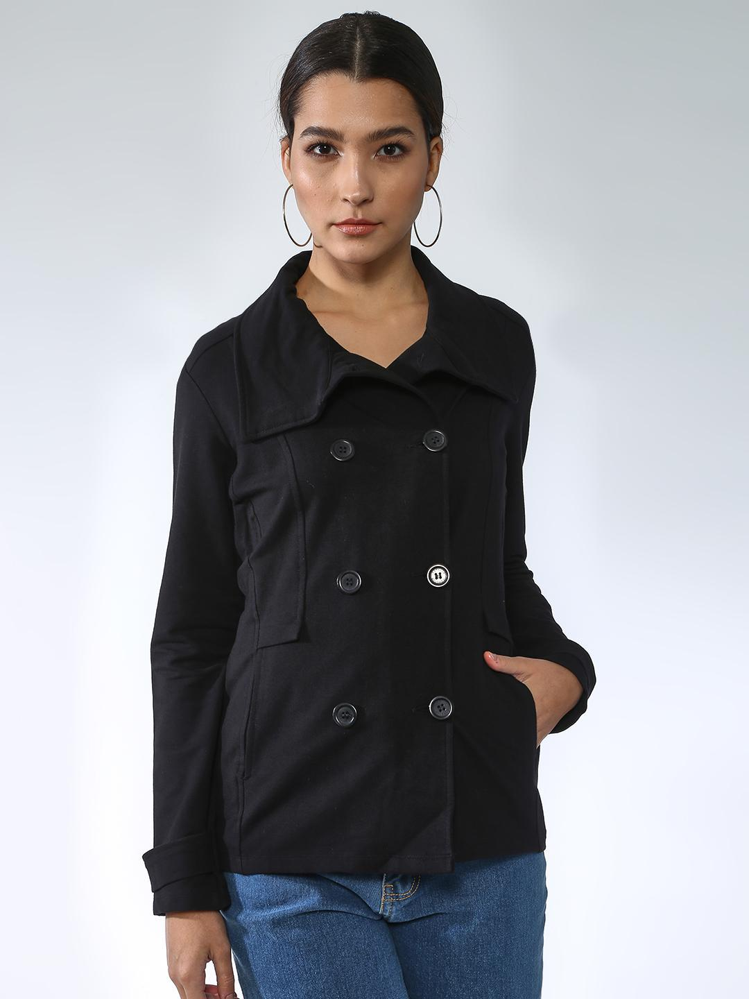 Femella Black Solid Double-Breasted Jacket 1
