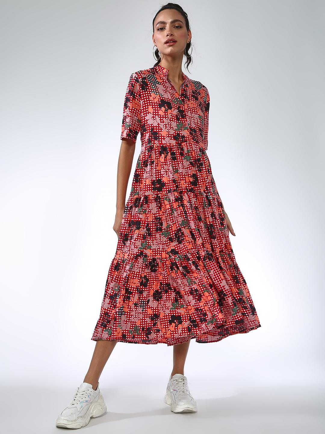 Femella Red Floral Button-Down Tiered Midi Dress 1