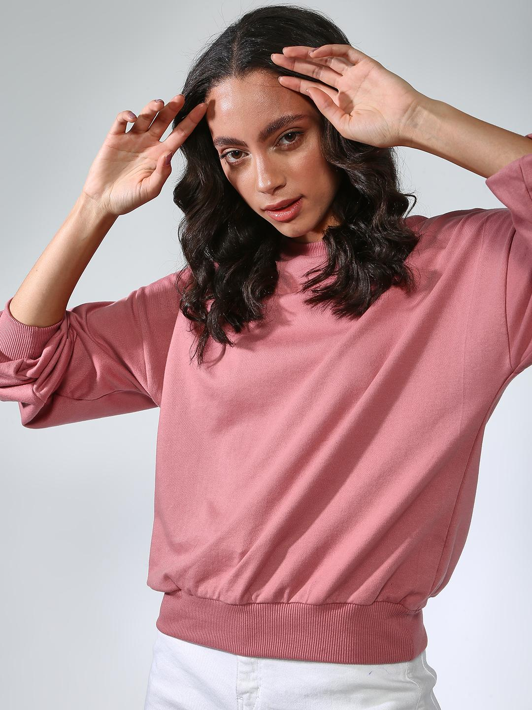 Femella Blush Ribbed Round Neck Relaxed Fit Sweatshirt 1
