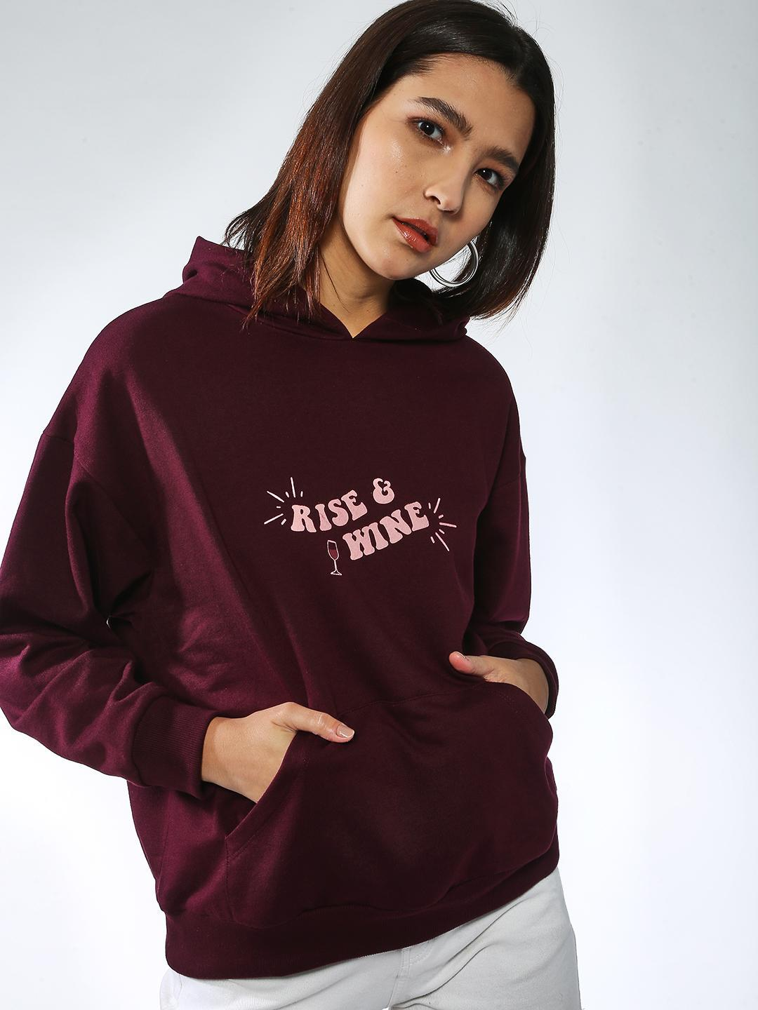 Femella Wine Text Placement Print Hoodie 1