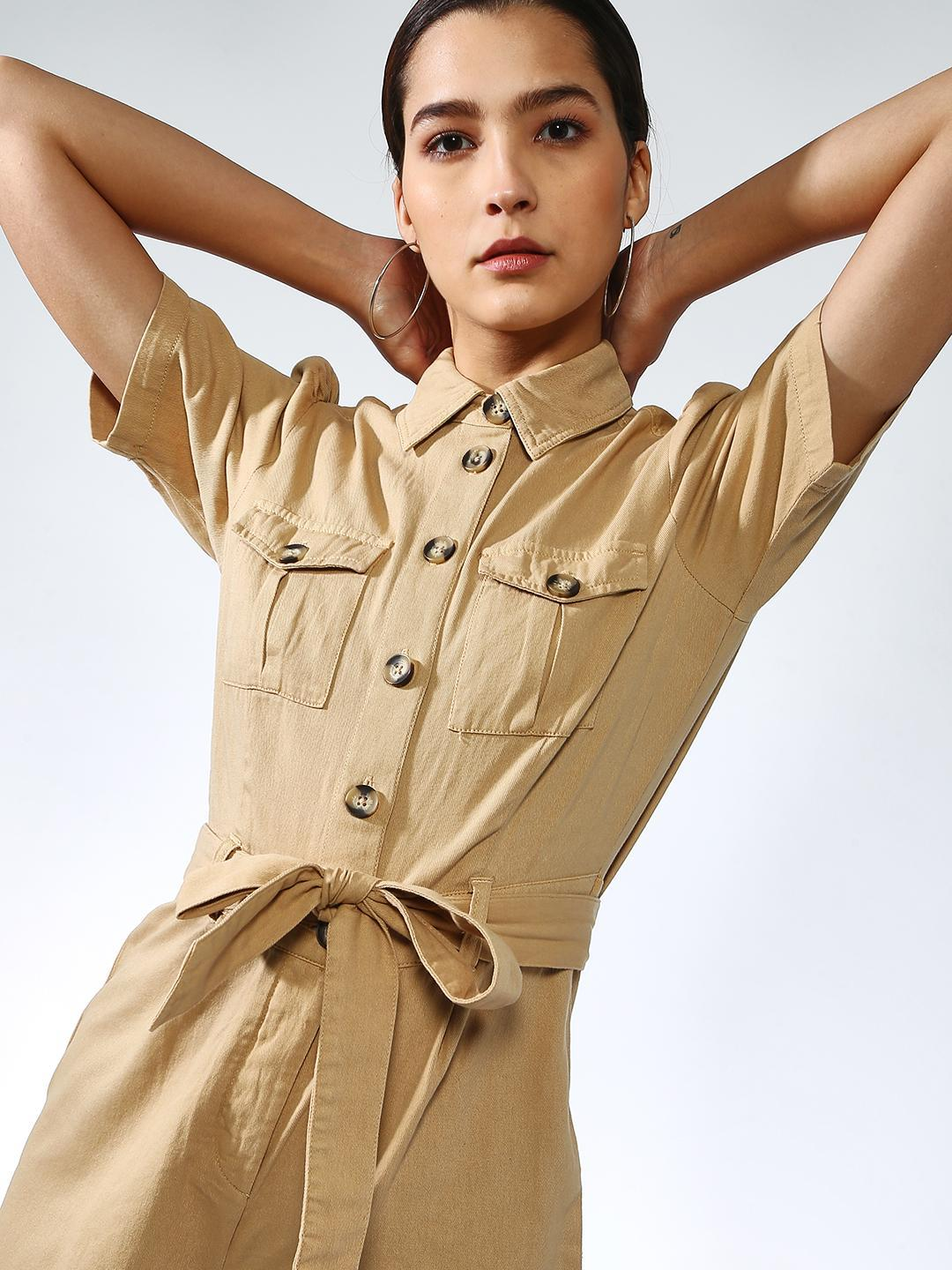 K Denim Beige Basic Regular Fit Playsuit 1
