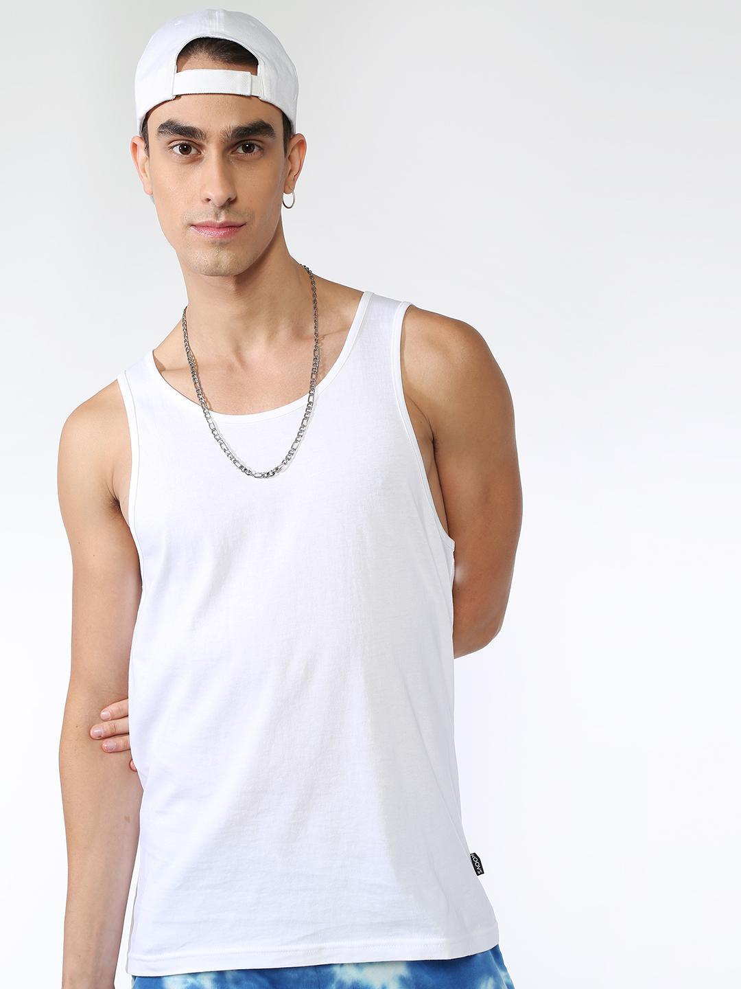 KOOVS White Sleeveless Regular Fit T-Shirt 1
