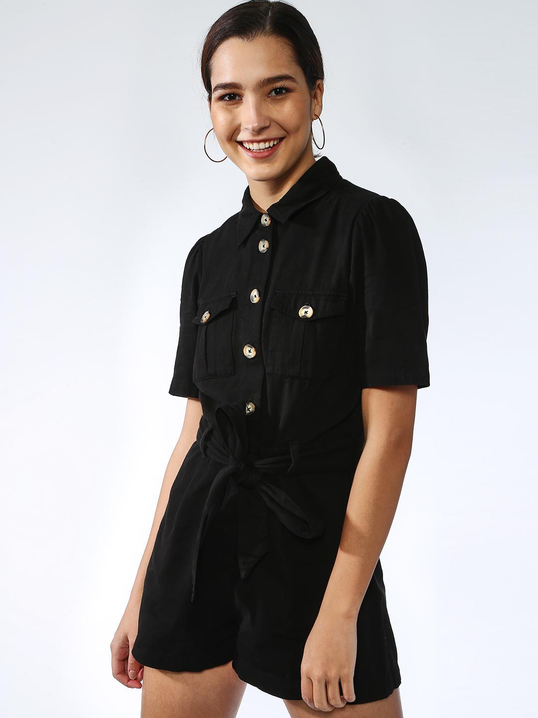 K Denim Black Button-Down Casual Dress 1