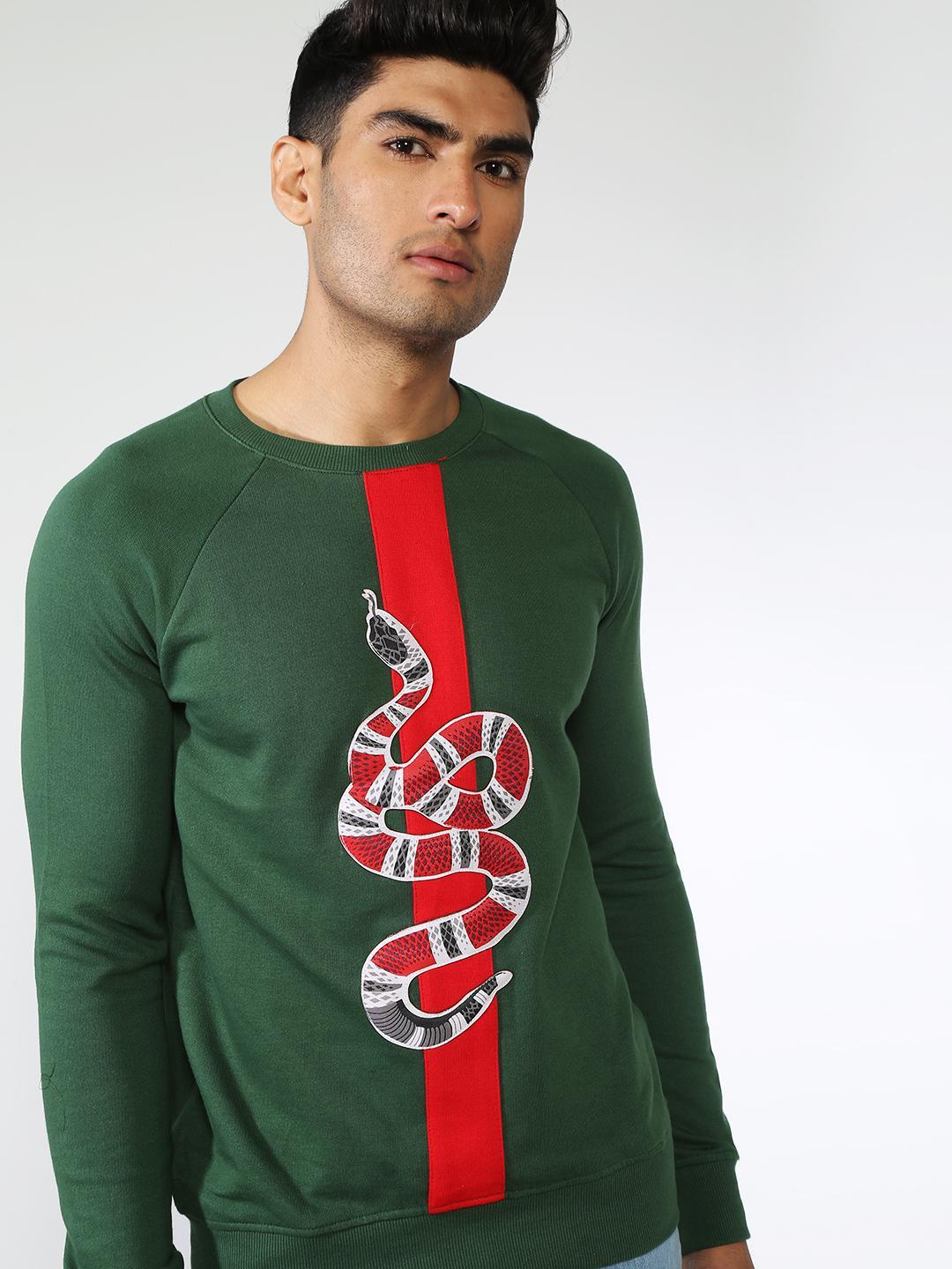 FUGAZEE Green Contrast Embroidered Snake Patch Sweatshirt 1
