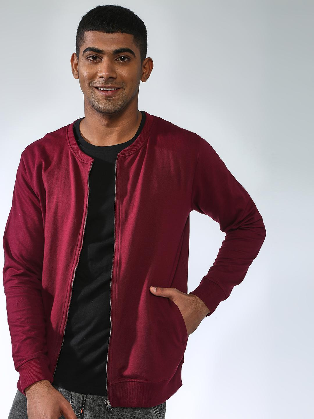 Blue Saint Maroon Solid Baseball Collar Jacket 1