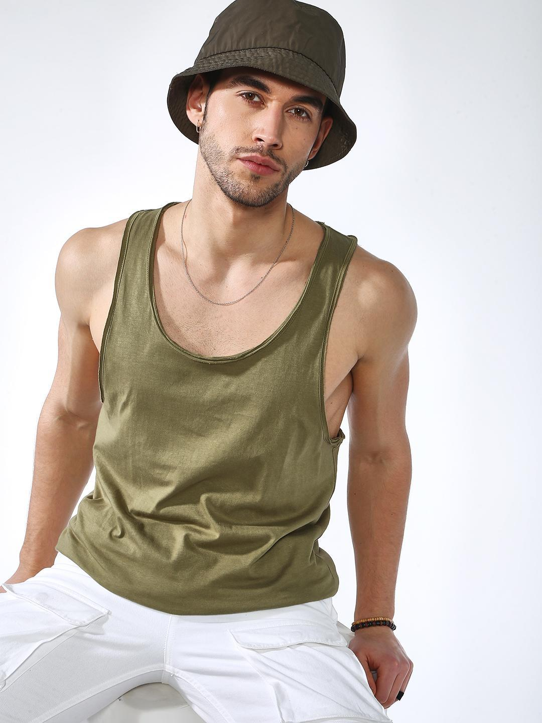 KOOVS Olive Basic Scoop Neck Vest 1