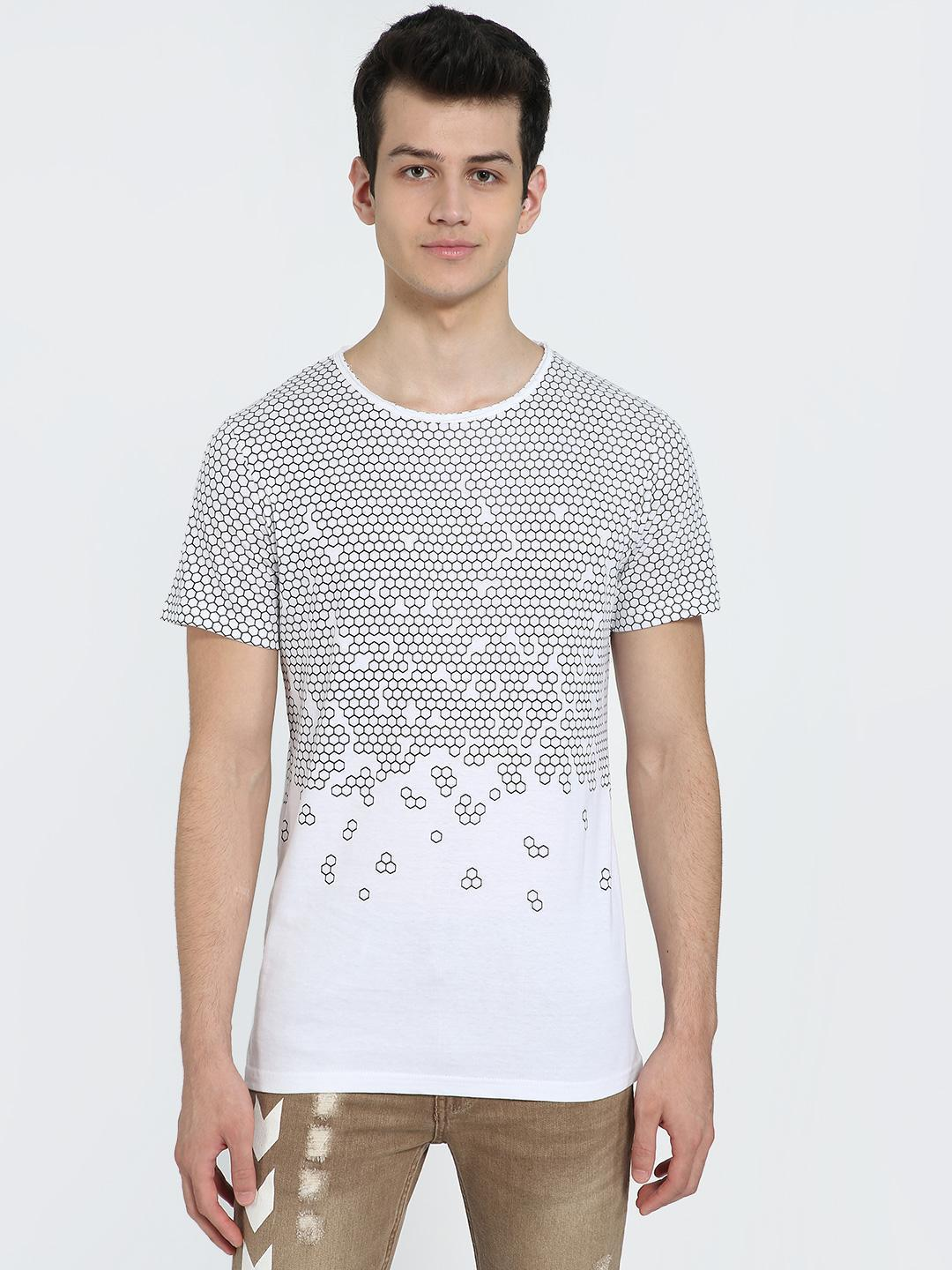 AMON White Geometric Honeycomb Print T-Shirt 1