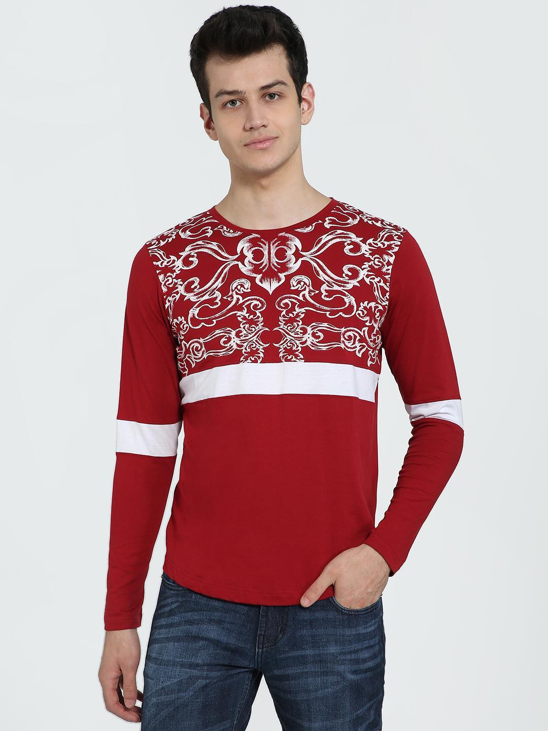 IMPACKT Red Contrast Panel Long Sleeve T-Shirt 1