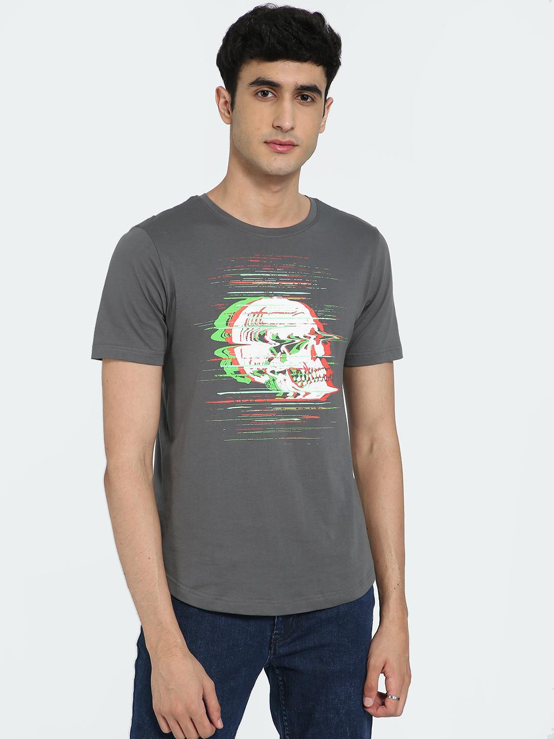IMPACKT Grey Blurred Skull Print Crew Neck T-Shirt 1