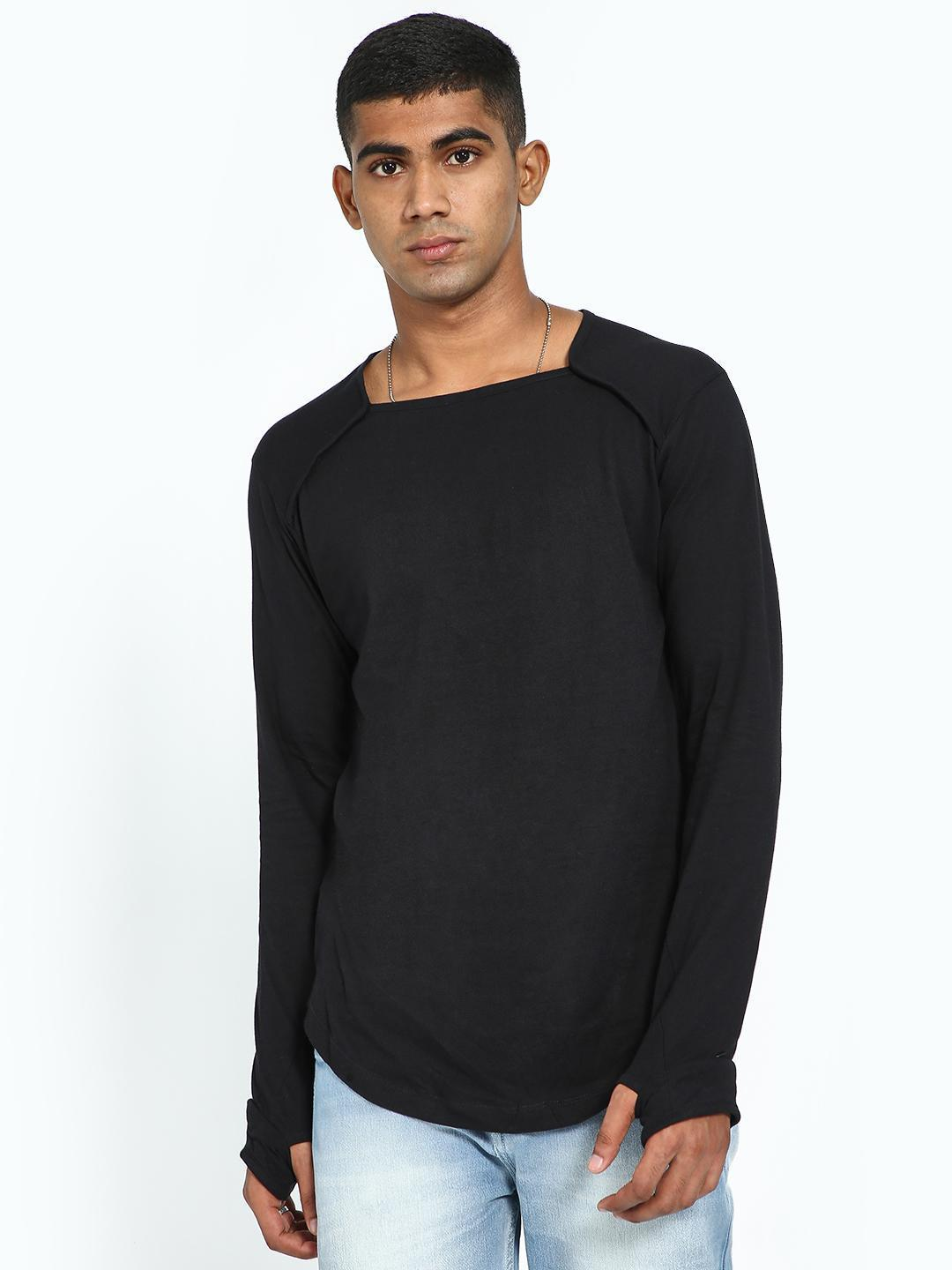 Kultprit Black Square Neck Thumb-Hole T-Shirt 1