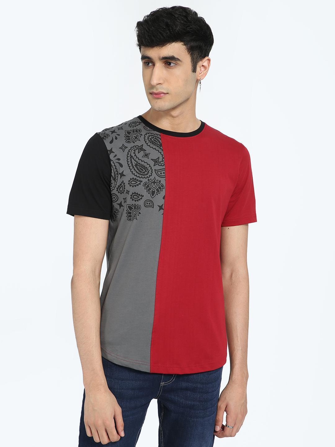 IMPACKT Multi Paisley Print Colour Block T-Shirt 1