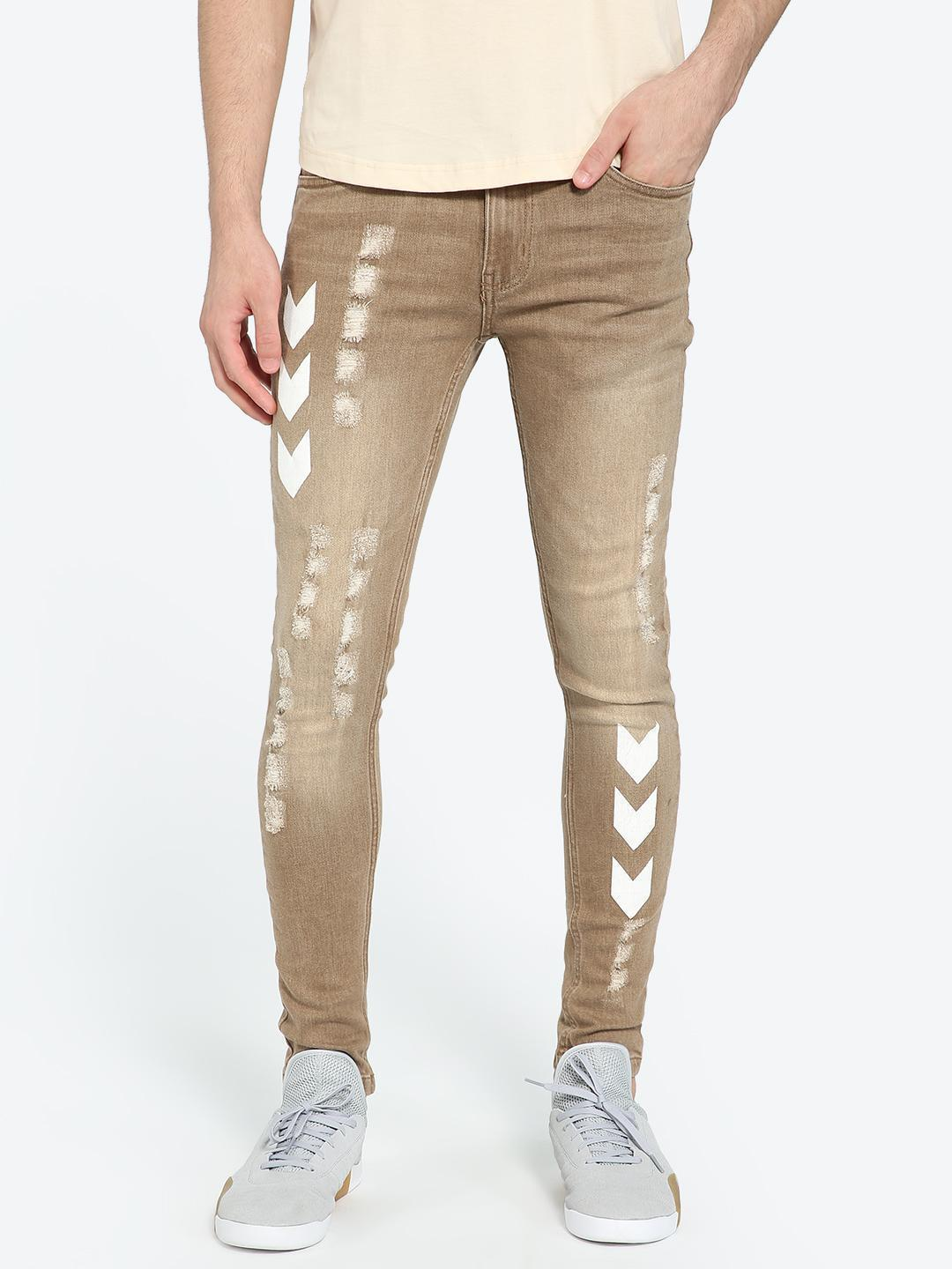 IMPACKT Brown Track Print Washed & Distressed Skinny Jeans 1