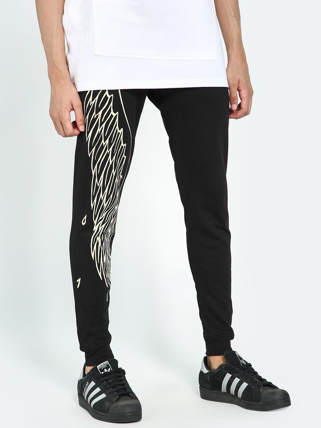 Kultprit Black Wing Print Slim Fit Joggers 1