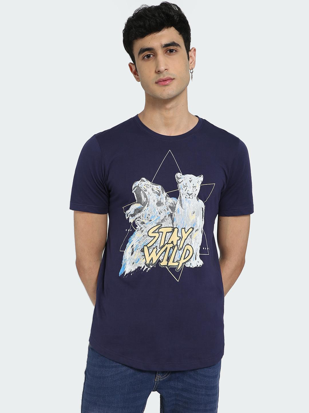 IMPACKT Blue Stay Wild Tiger Placement Print T-Shirt 1