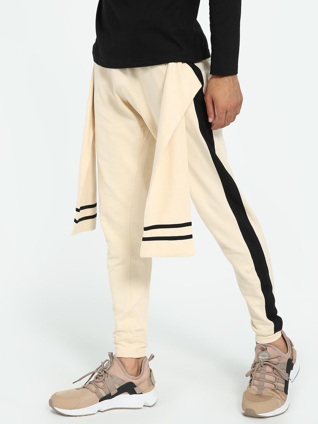Kultprit Brown Tie-Knot Contrast Side Tape Joggers 1
