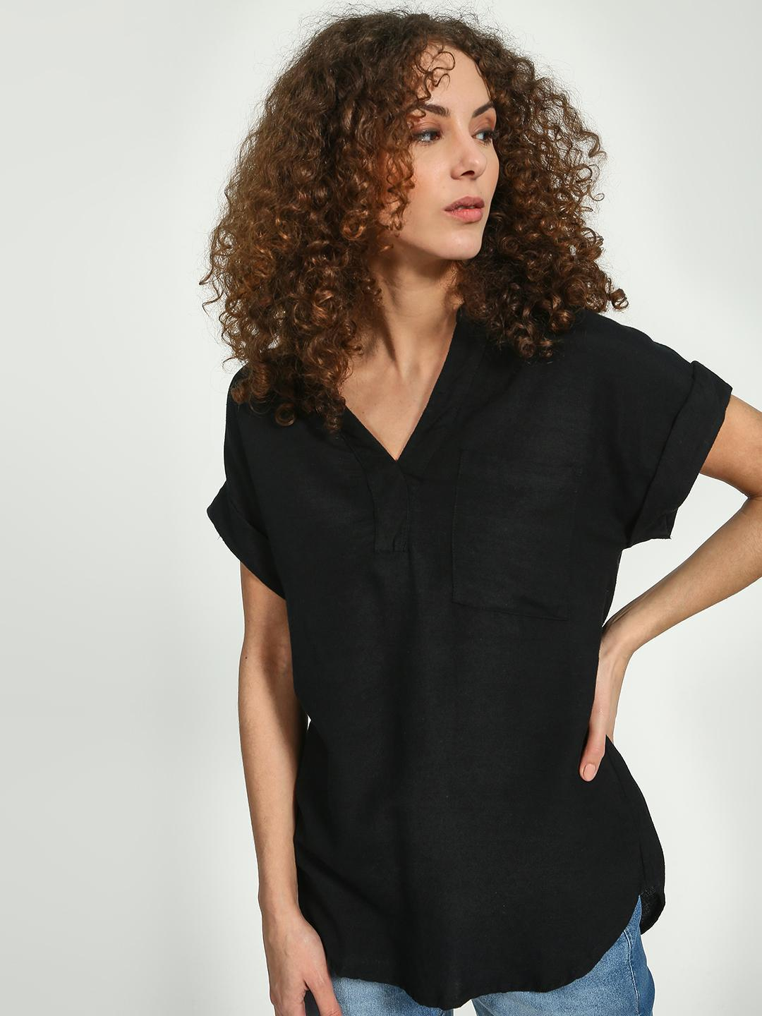 Oxolloxo Black V-neck Short Sleeve Top 1