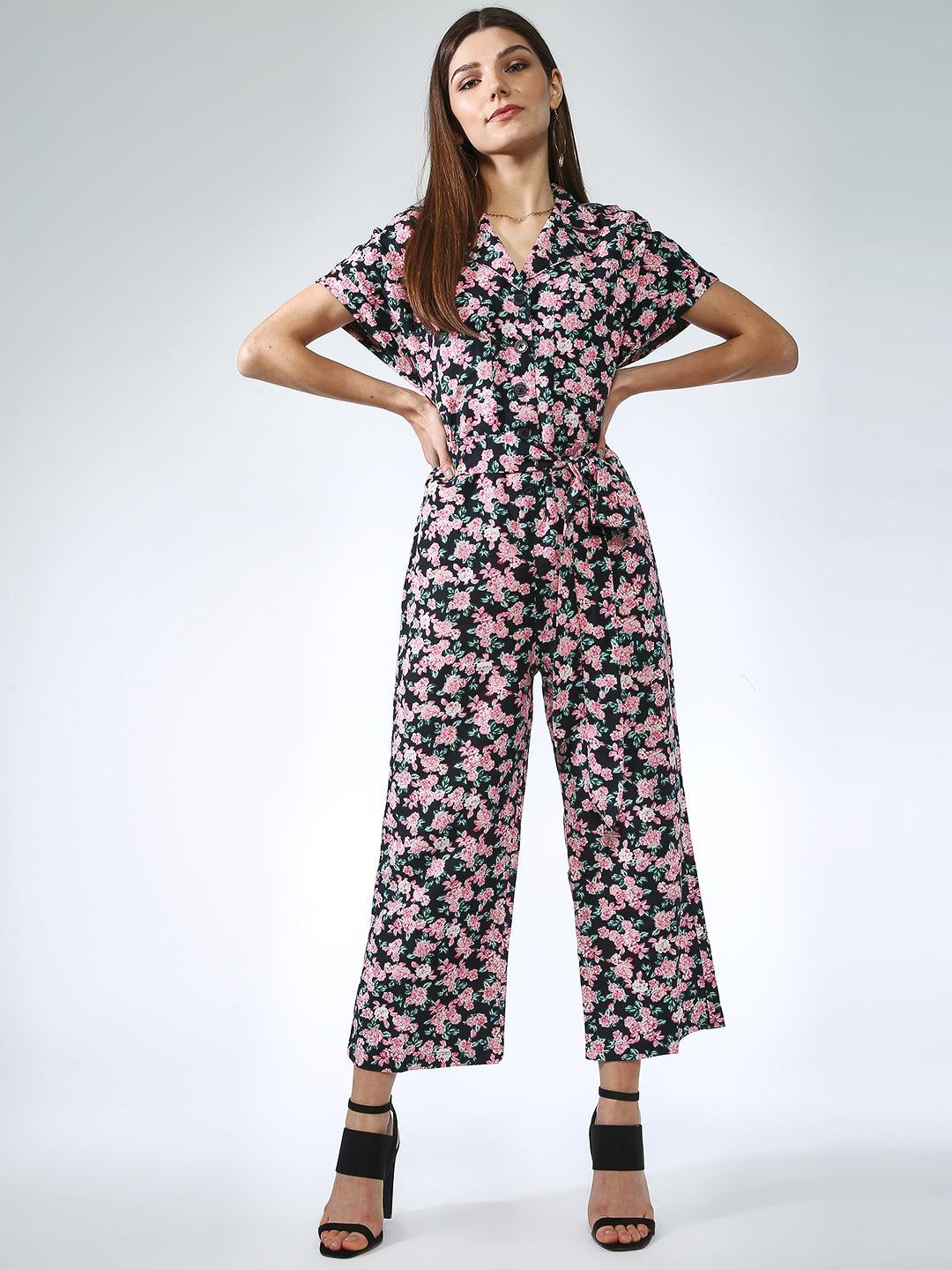 Oxolloxo Black Cropped Floral Print Jumpsuit 1
