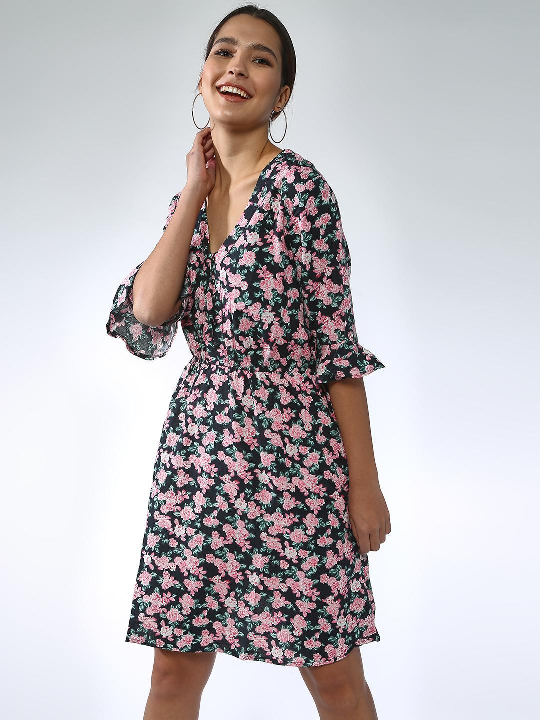 Oxolloxo Black All Over Flower  Printed Dress 1